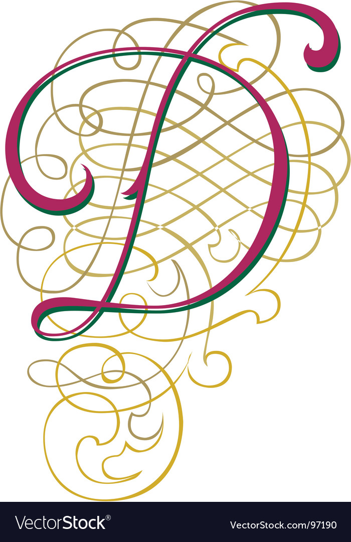 Script letter d vector | Price: 1 Credit (USD $1)