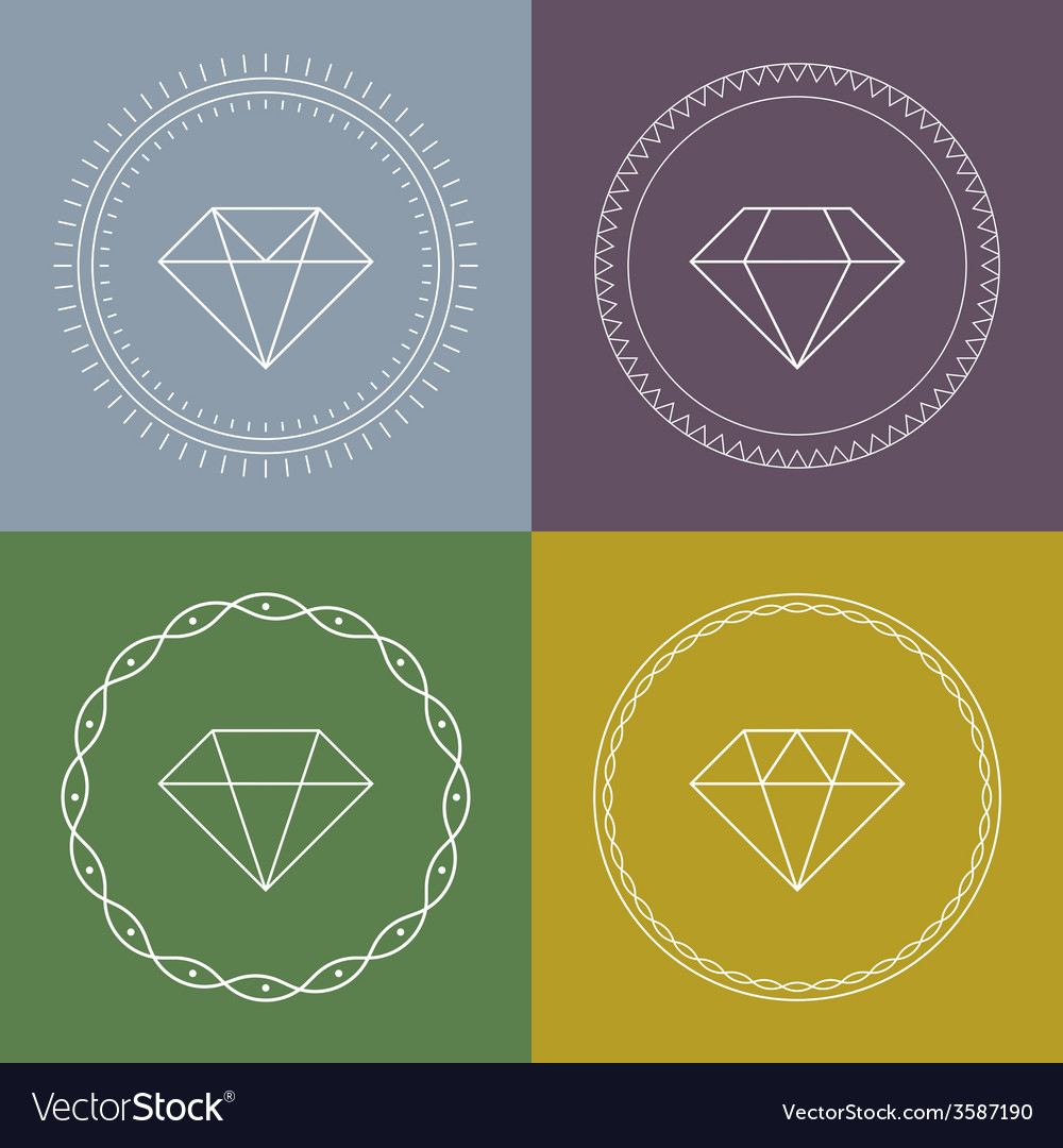 Set gemstones round banner vector | Price: 1 Credit (USD $1)