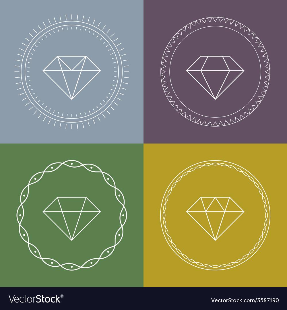 Set gemstones round banner vector | Price: 1 Credit (USD $1)
