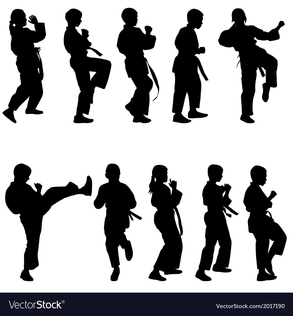 Set of black silhouettes of karate sport vector | Price: 1 Credit (USD $1)