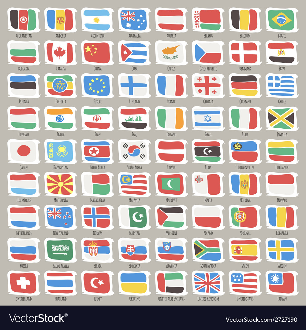Set of world states flags vector | Price: 1 Credit (USD $1)