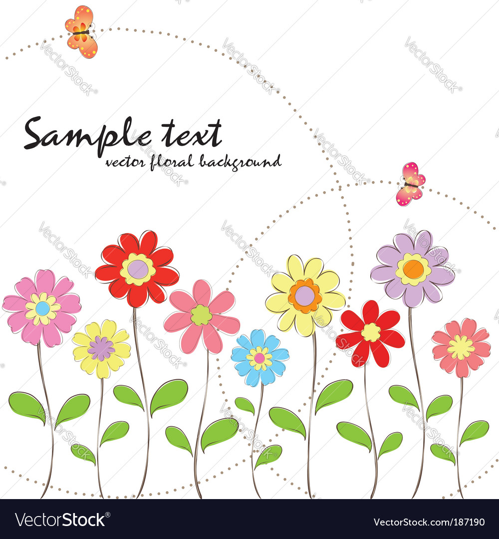 Spring summer floral wallpaper vector | Price:  Credit (USD $)