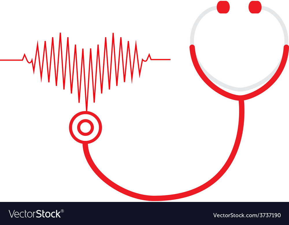 Stethoscope and a heart beats vector | Price: 1 Credit (USD $1)