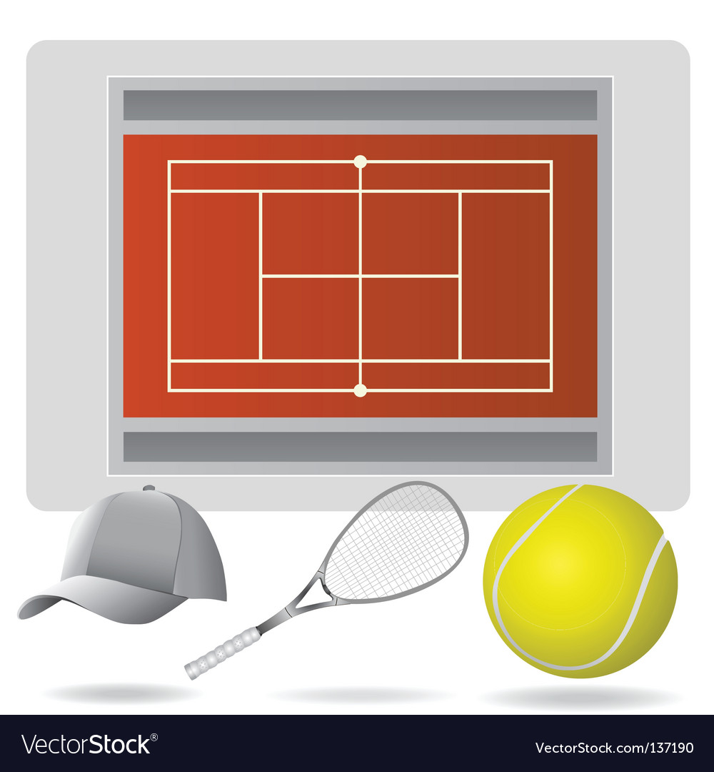 Tennis field and accessories vector | Price: 1 Credit (USD $1)