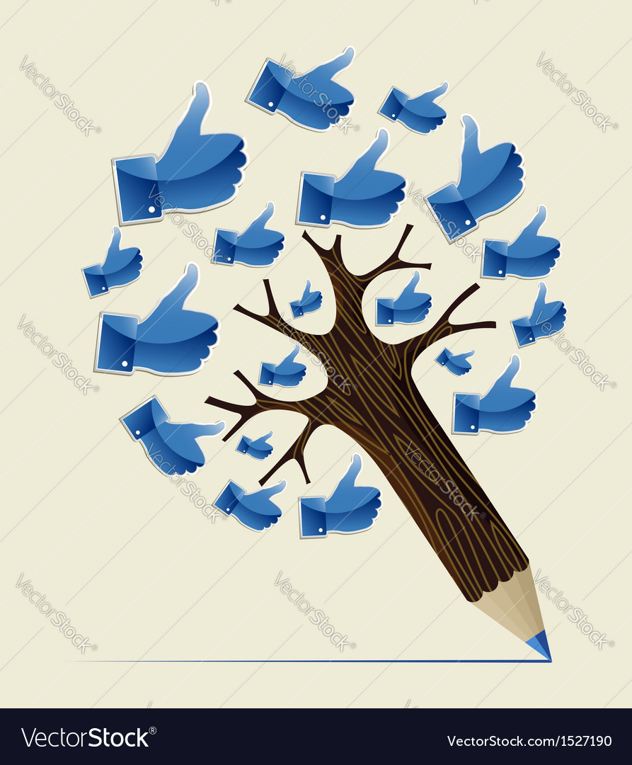Thumb up ok concept pencil tree vector | Price: 1 Credit (USD $1)