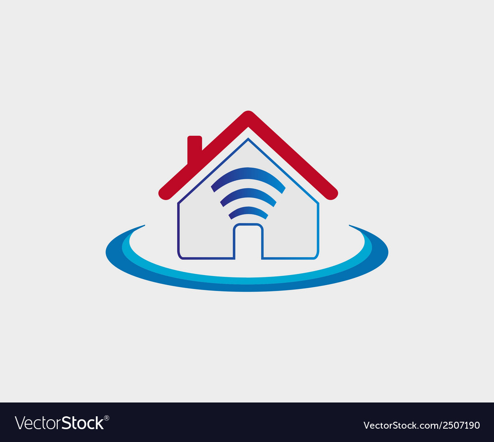 Wireless house symbol wifi house icon vector | Price: 1 Credit (USD $1)