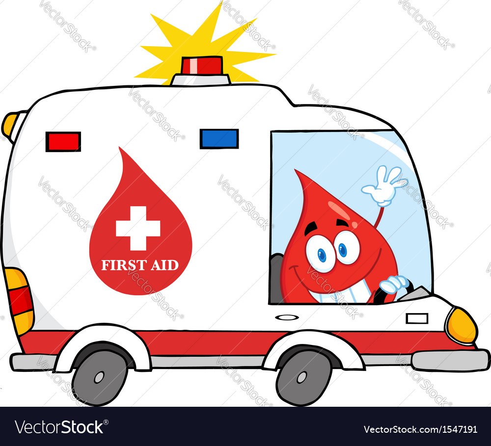 Blood cartoon character in ambulance vector | Price: 1 Credit (USD $1)