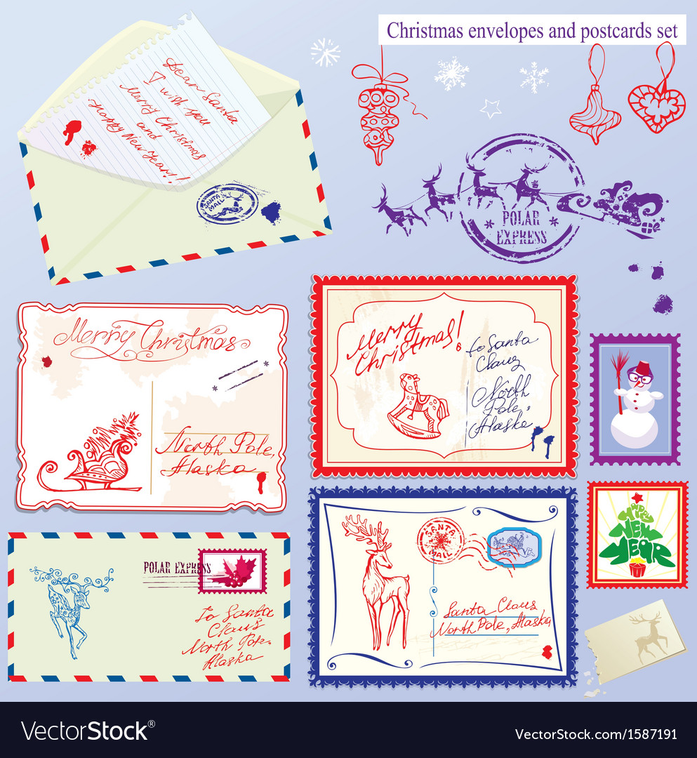 Collection of christmas envelops postcards stamps vector | Price: 3 Credit (USD $3)