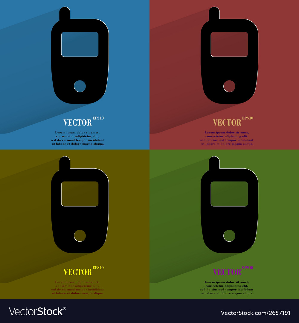 Color set mobile phone flat modern web button with vector | Price: 1 Credit (USD $1)