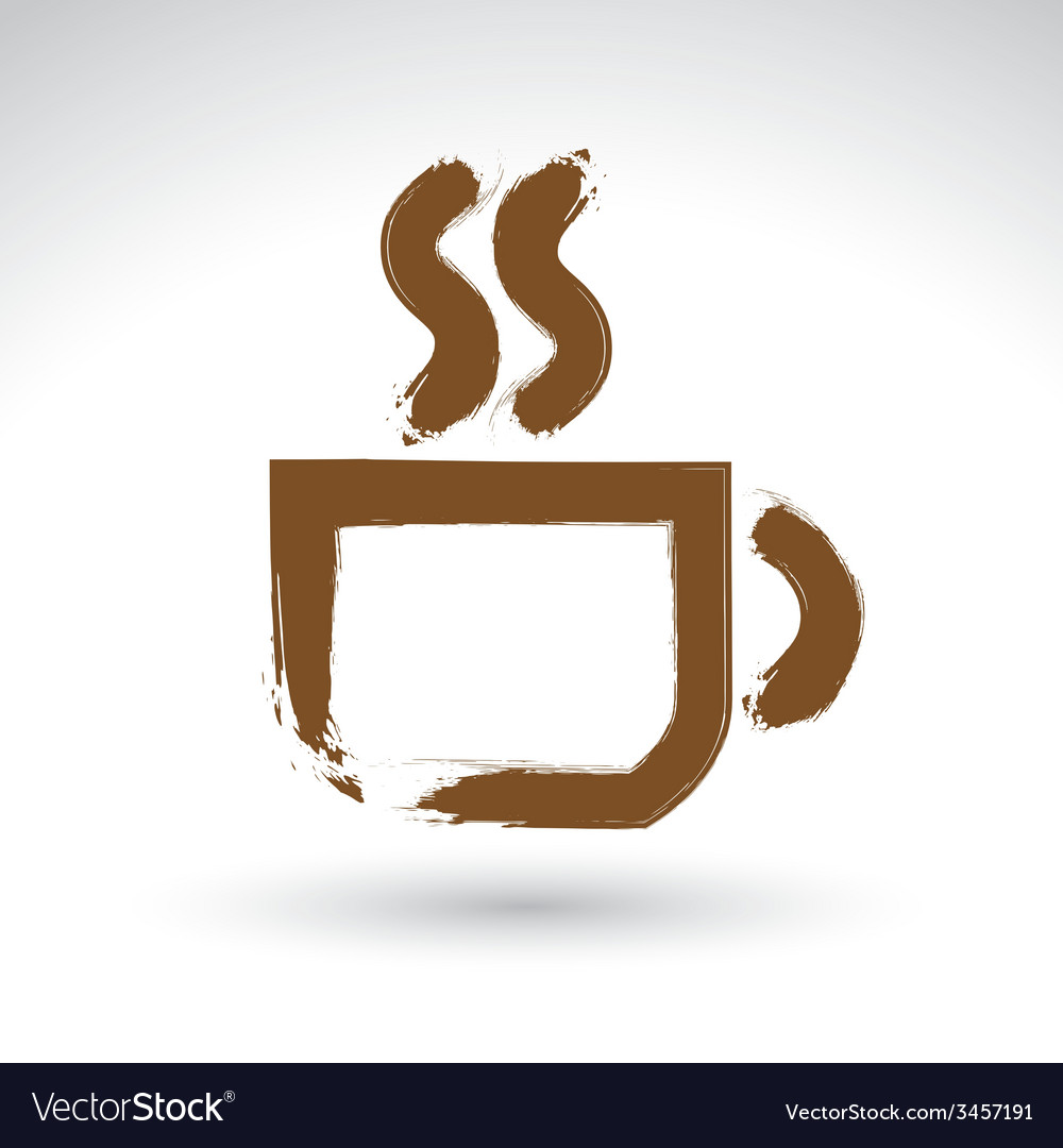 Hand drawn coffee cup icon brush drawing cafe sign vector | Price: 1 Credit (USD $1)