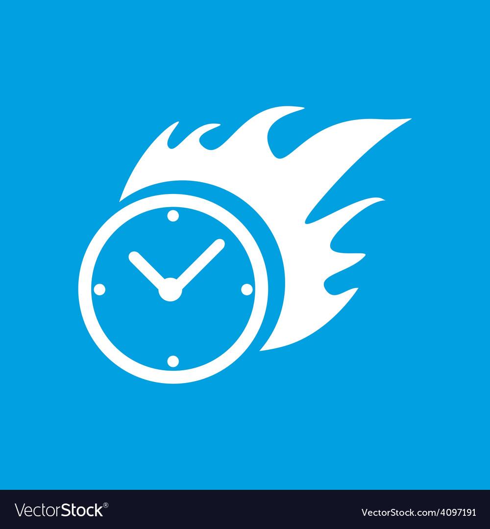 Hot clock white icon vector | Price: 1 Credit (USD $1)