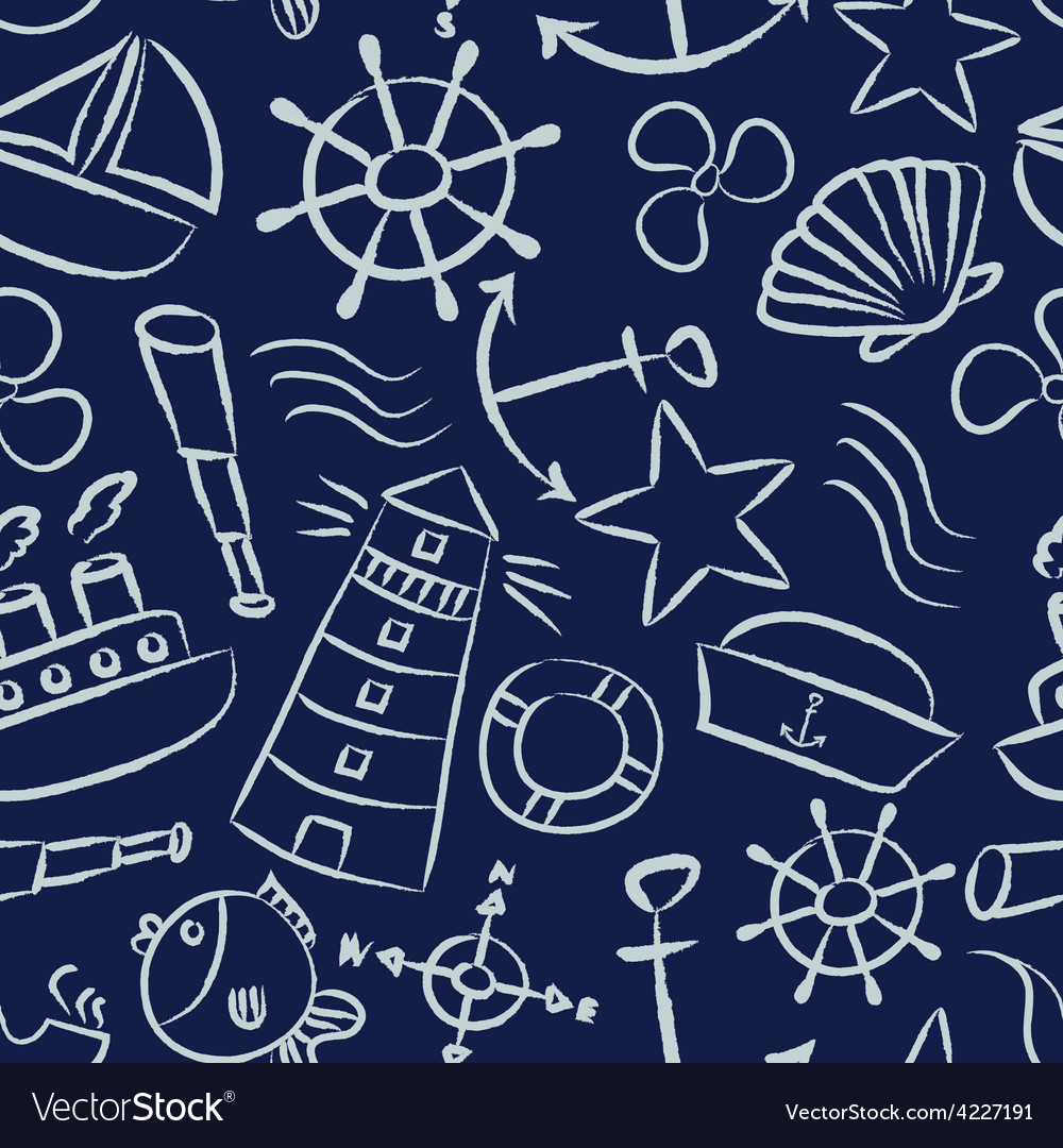 Nautical sketch doodle icons seamless blue pattern vector | Price: 1 Credit (USD $1)