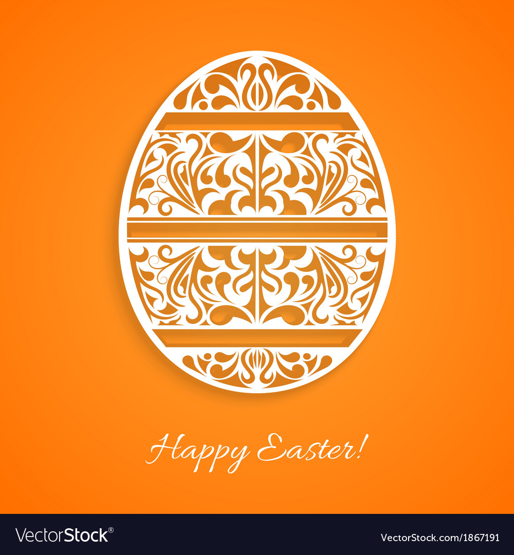 Orange background with a paper easter egg vector | Price: 1 Credit (USD $1)