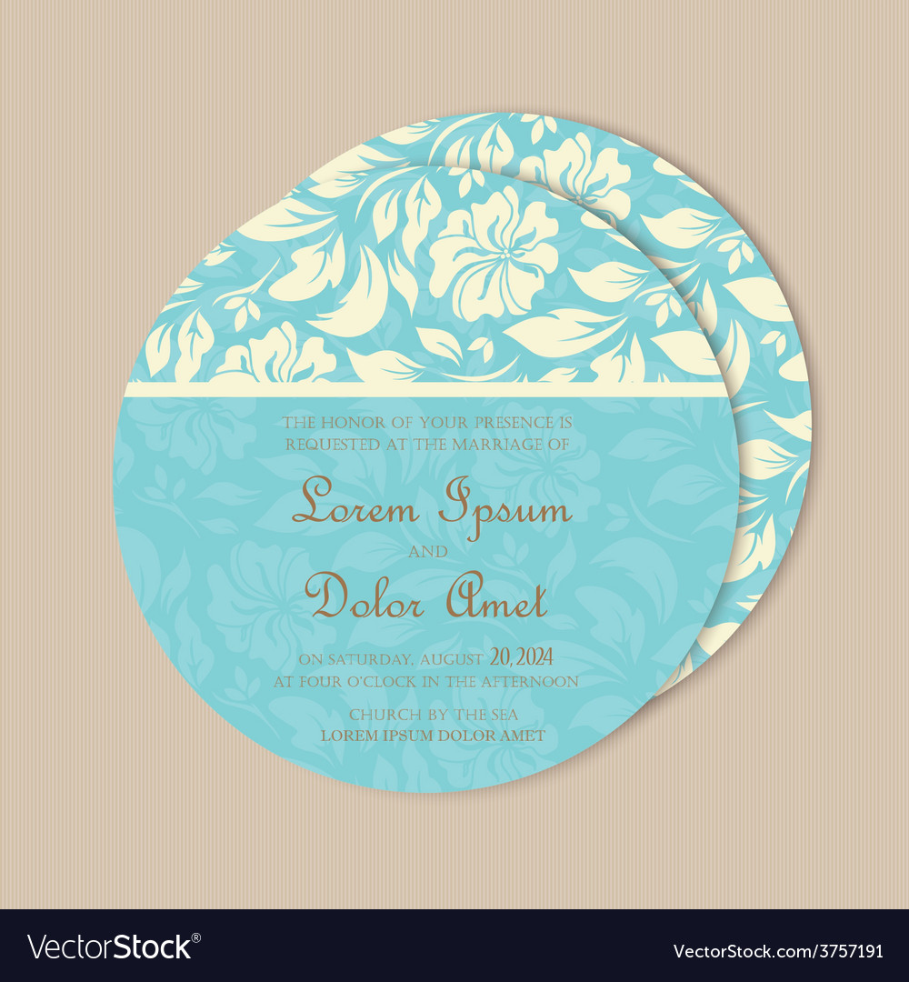 Round wedding card blue vector | Price: 1 Credit (USD $1)