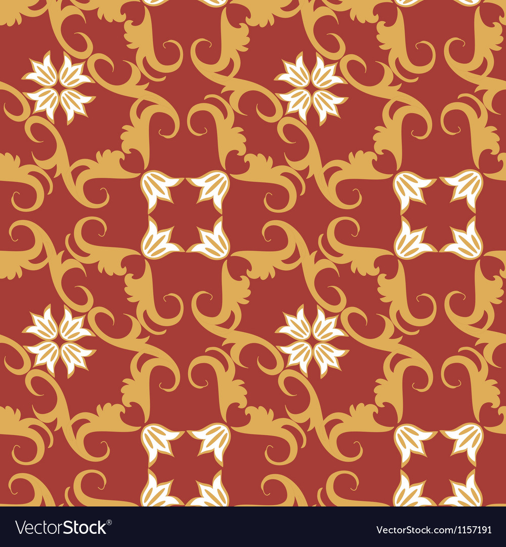 Seamless floral ornament pattern vector | Price: 1 Credit (USD $1)