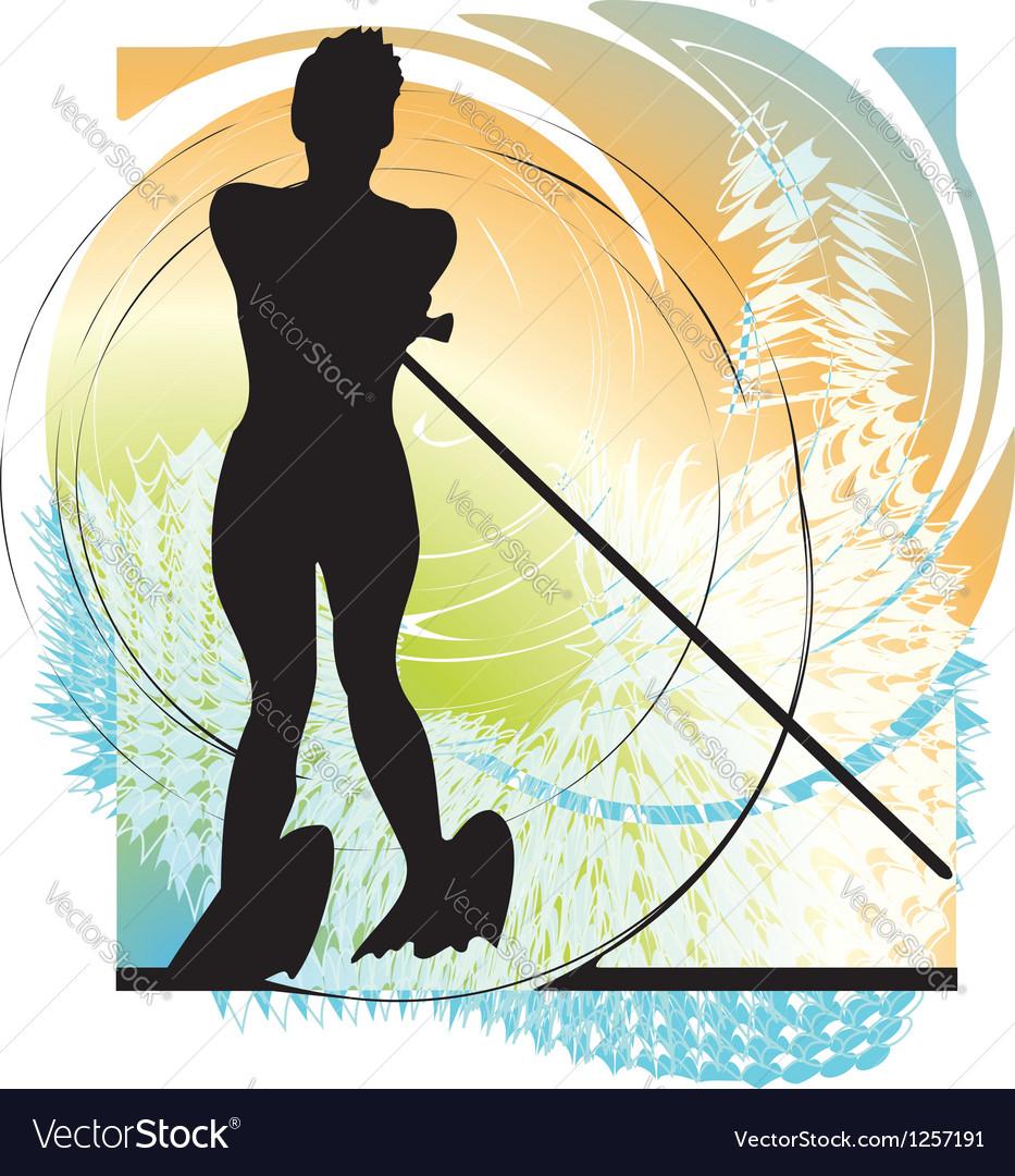 Water skiing woman vector | Price: 1 Credit (USD $1)
