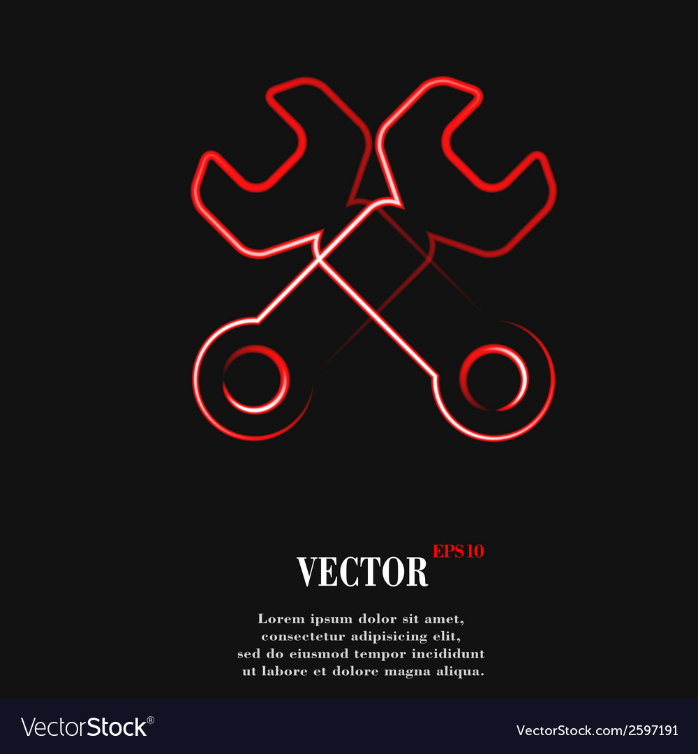Wrench tool to work flat modern web button and vector | Price: 1 Credit (USD $1)