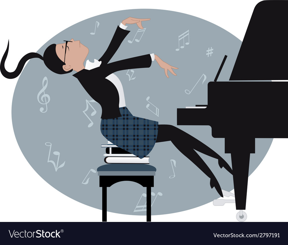 Young girl playing a piano vector | Price: 1 Credit (USD $1)