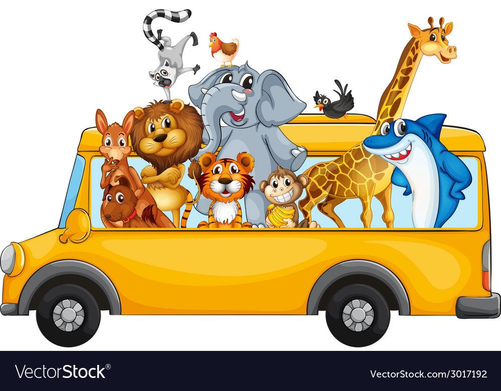 Animals and bus vector   Price: 1 Credit (USD $1)