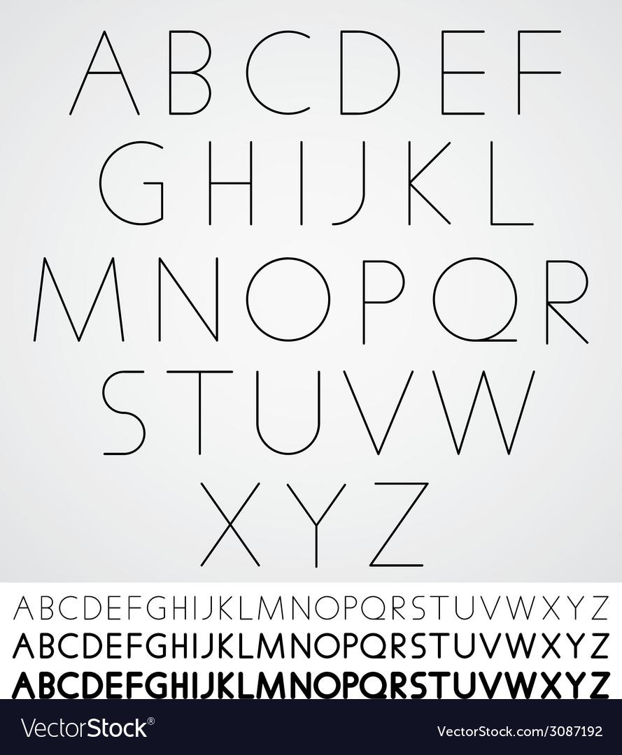 Elegant light font alphabet letters design vector | Price: 1 Credit (USD $1)