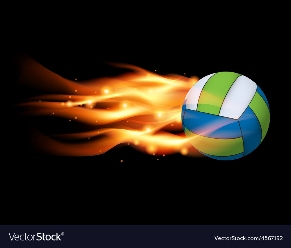 Flaming volleyball vector | Price: 1 Credit (USD $1)