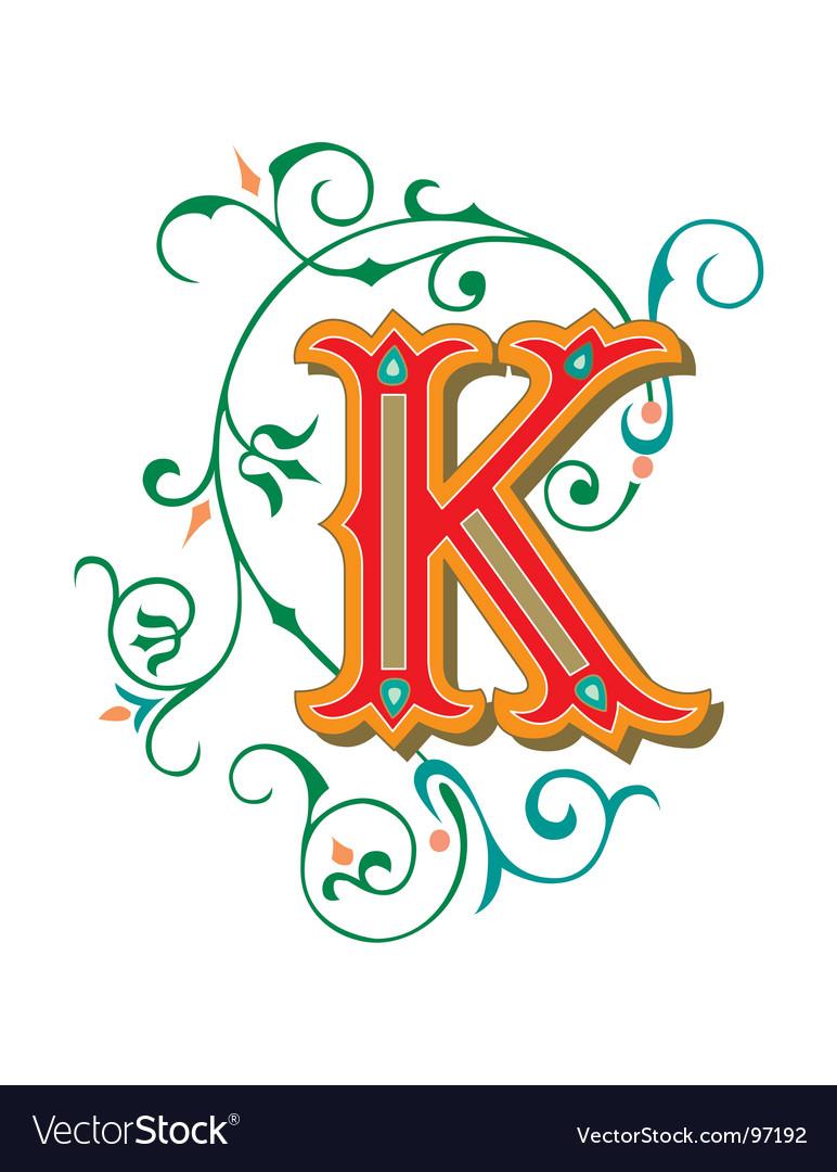 Floral letter k vector | Price: 1 Credit (USD $1)