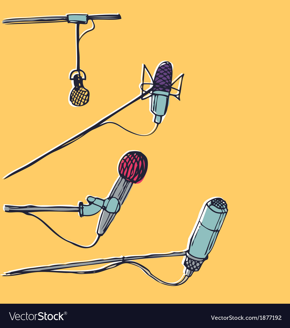 Microphones hand-drawn graphic elements eps 10 vector | Price: 1 Credit (USD $1)