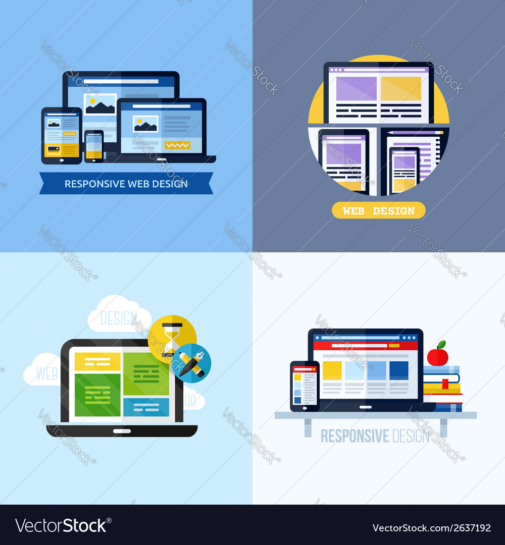 Modern flat concepts of responsive web design vector | Price: 1 Credit (USD $1)
