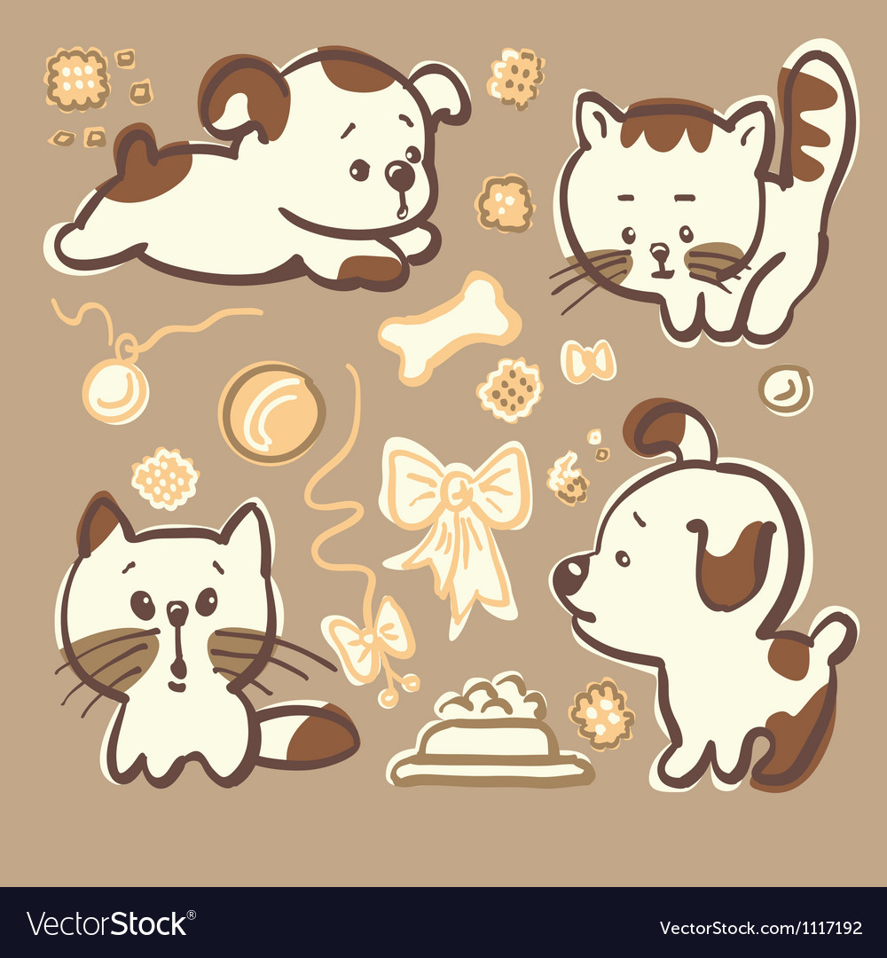 Puppies and kittens vector | Price: 3 Credit (USD $3)