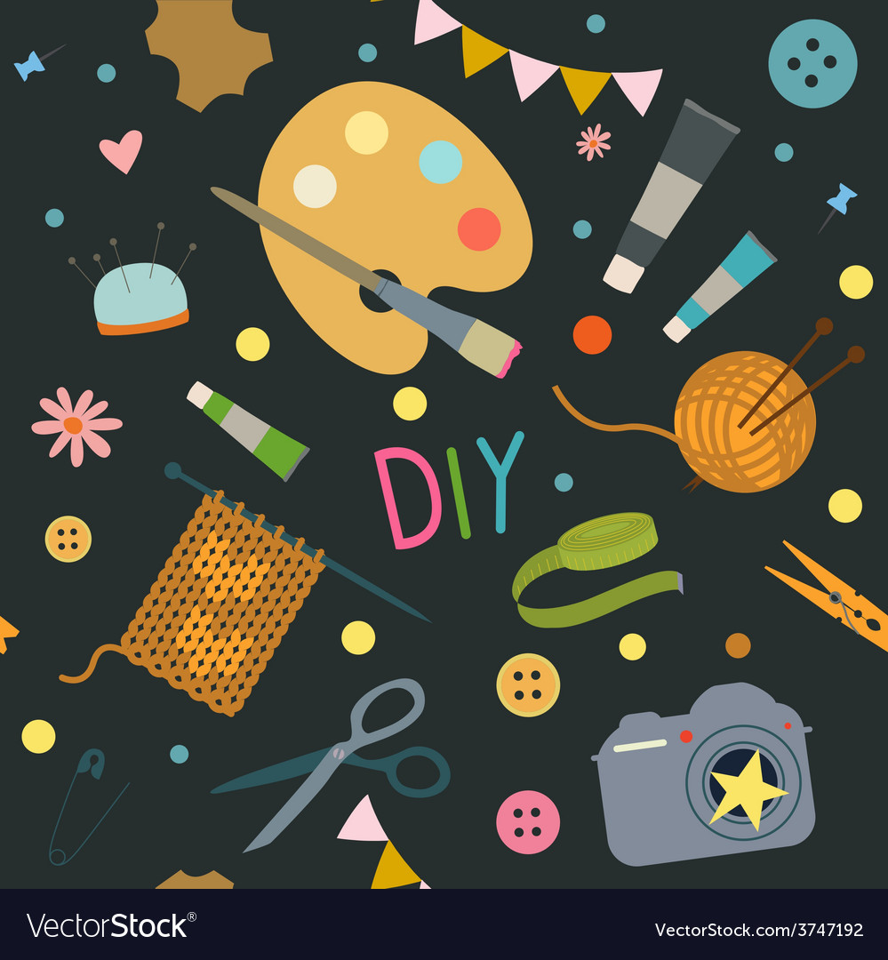 Seamless pattern with hobby tools vector | Price: 1 Credit (USD $1)