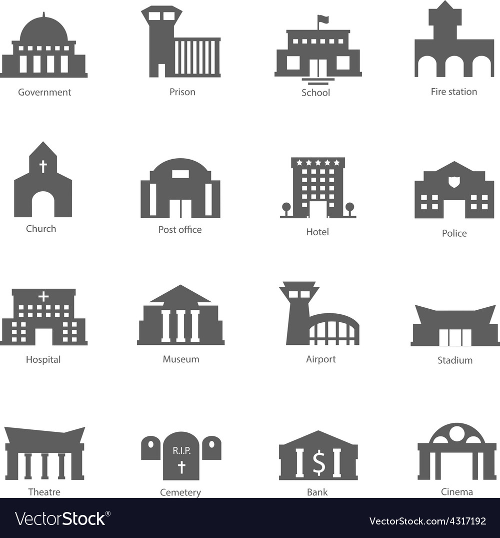 Set of government buildings vector | Price: 1 Credit (USD $1)
