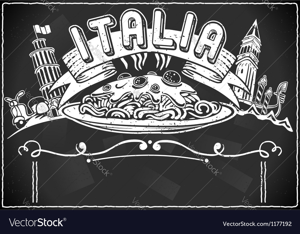 Vintage graphic element for italian first course vector | Price: 1 Credit (USD $1)