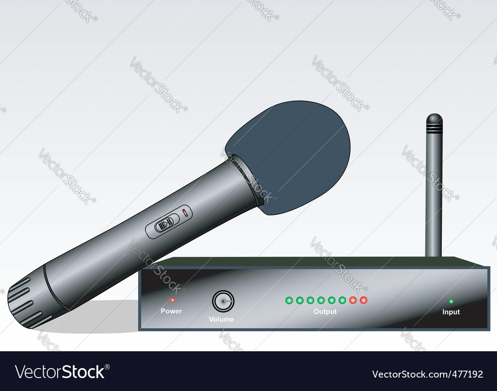 Wireless microphone with the receiver vector | Price: 1 Credit (USD $1)