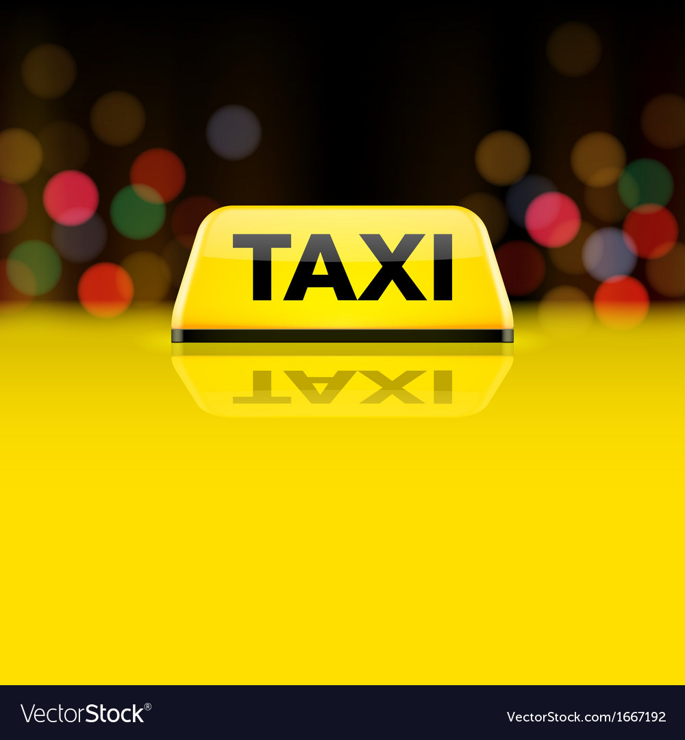 Yellow taxi car roof sign at night vector | Price: 1 Credit (USD $1)