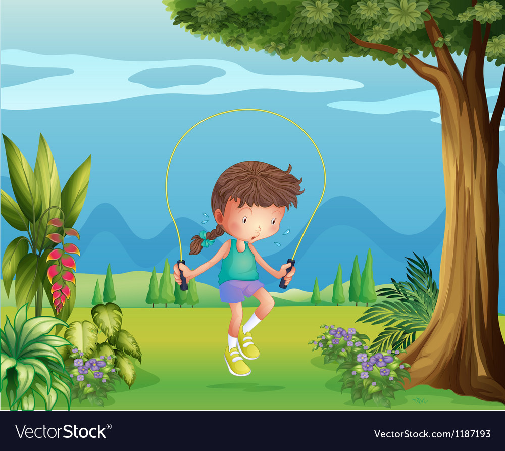 A girl playing jumping rope near the tree vector | Price: 1 Credit (USD $1)
