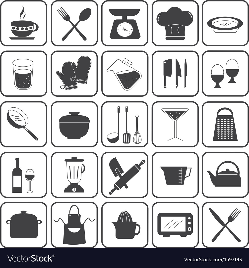 Basic cooking icons set vector | Price: 1 Credit (USD $1)