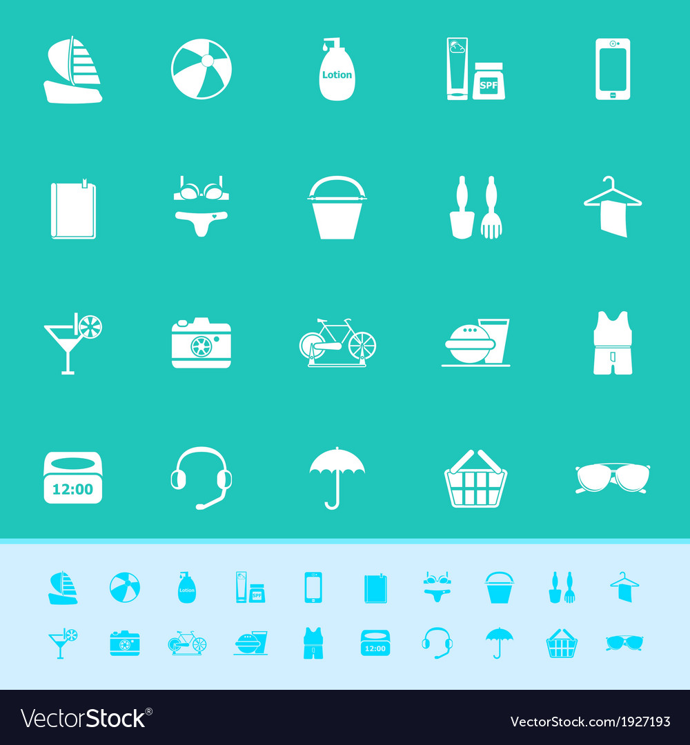 Beach color icons on green background vector   Price: 1 Credit (USD $1)