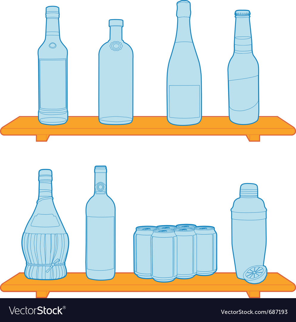 Bottles on a shelf vector | Price: 1 Credit (USD $1)