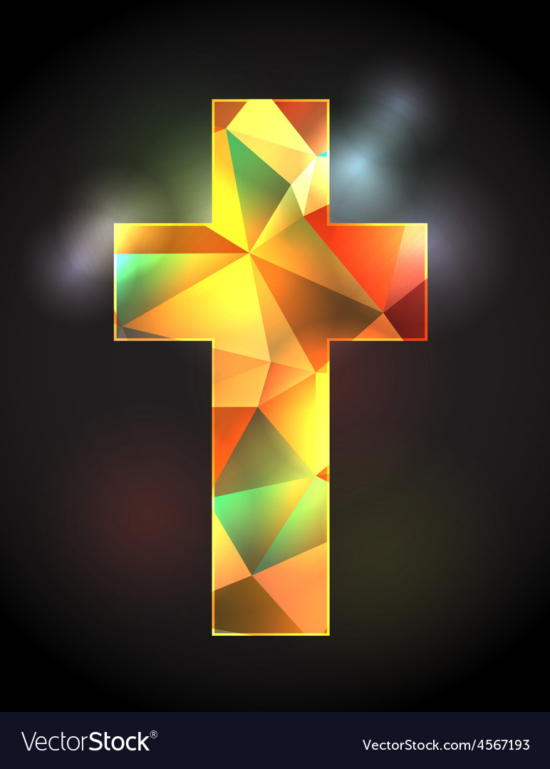 Christian cross with stained glass vector | Price: 1 Credit (USD $1)