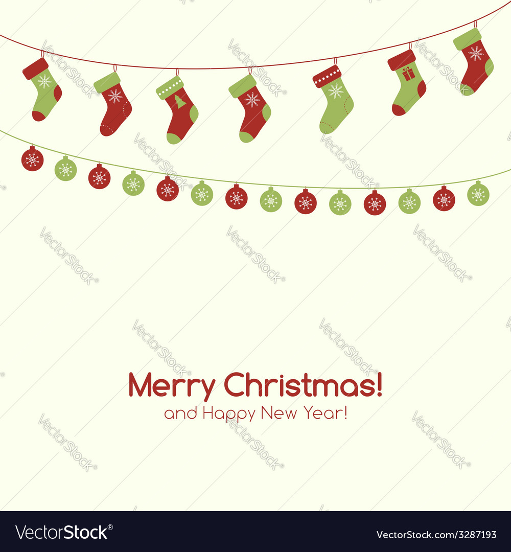 Christmas greeting card with garlands vector | Price: 1 Credit (USD $1)