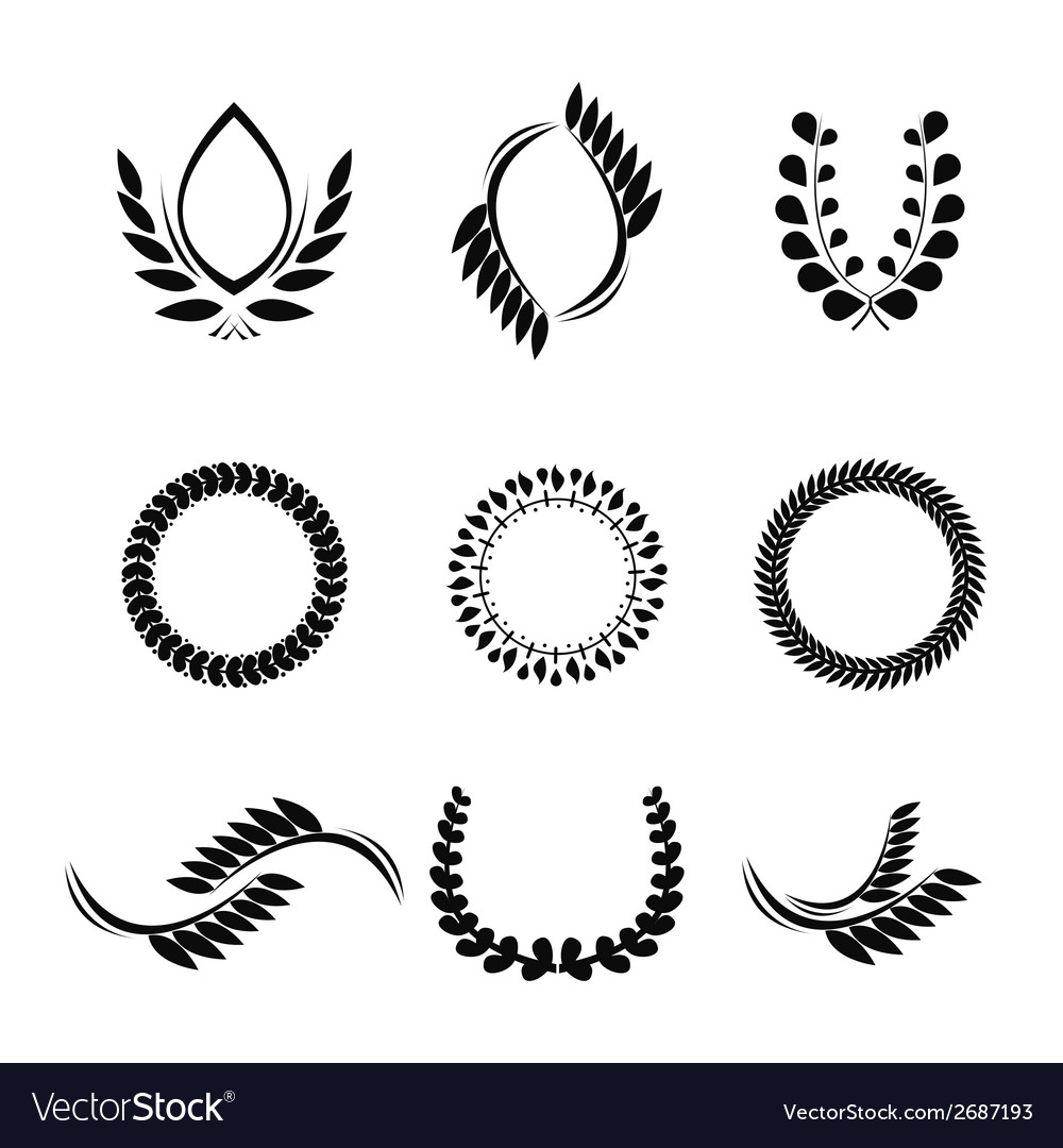 Collection of laurel wreaths for award vector | Price: 1 Credit (USD $1)