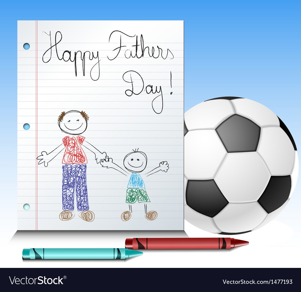 Fathers day kid drawing with ball and crayons vector | Price: 1 Credit (USD $1)
