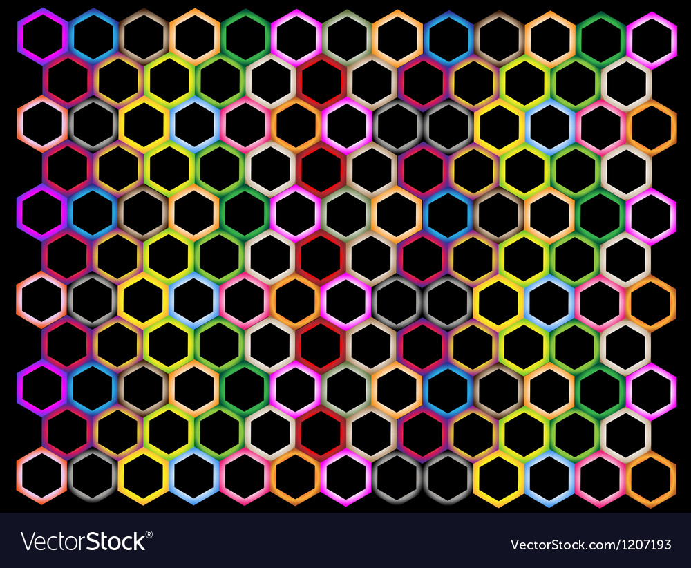 Multi colors of hexagon on black background vector | Price: 1 Credit (USD $1)