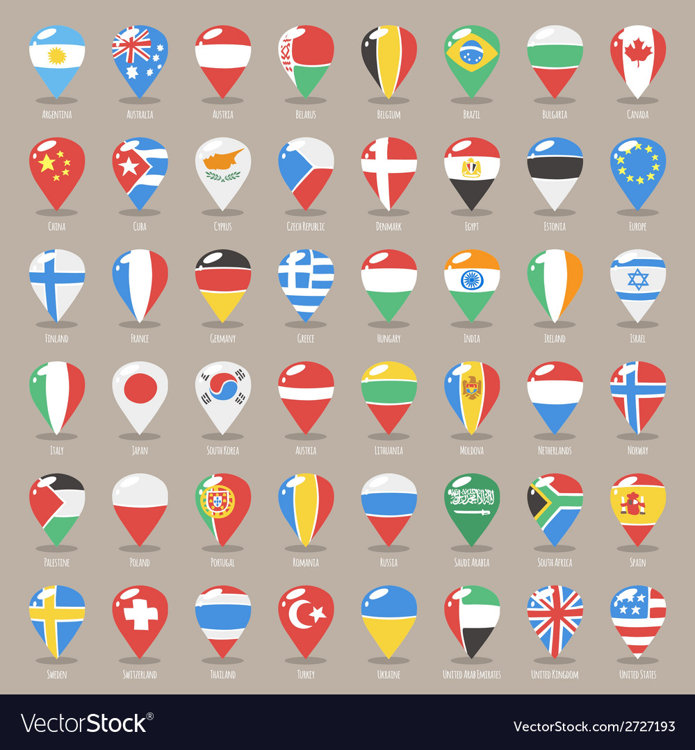 Set of flat map pointers with world states flags vector | Price: 1 Credit (USD $1)