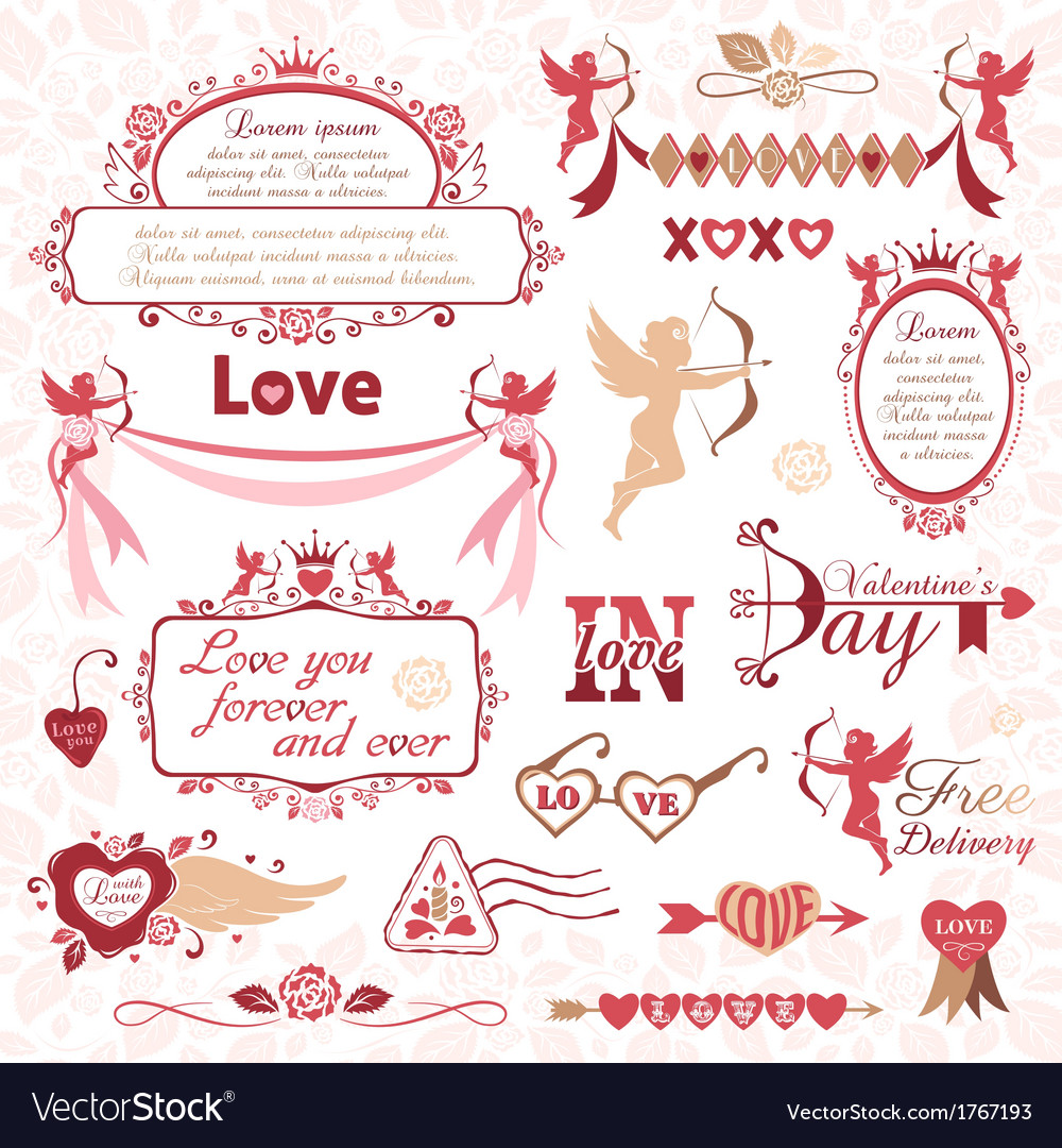 Set of valentines day design elements vector | Price: 1 Credit (USD $1)