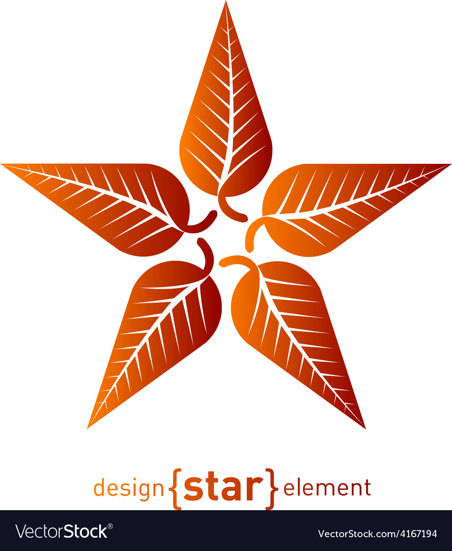 Abstract design element star with red autumn leafs vector | Price: 1 Credit (USD $1)