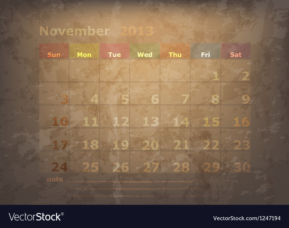 Antique calendar of november vector | Price: 1 Credit (USD $1)