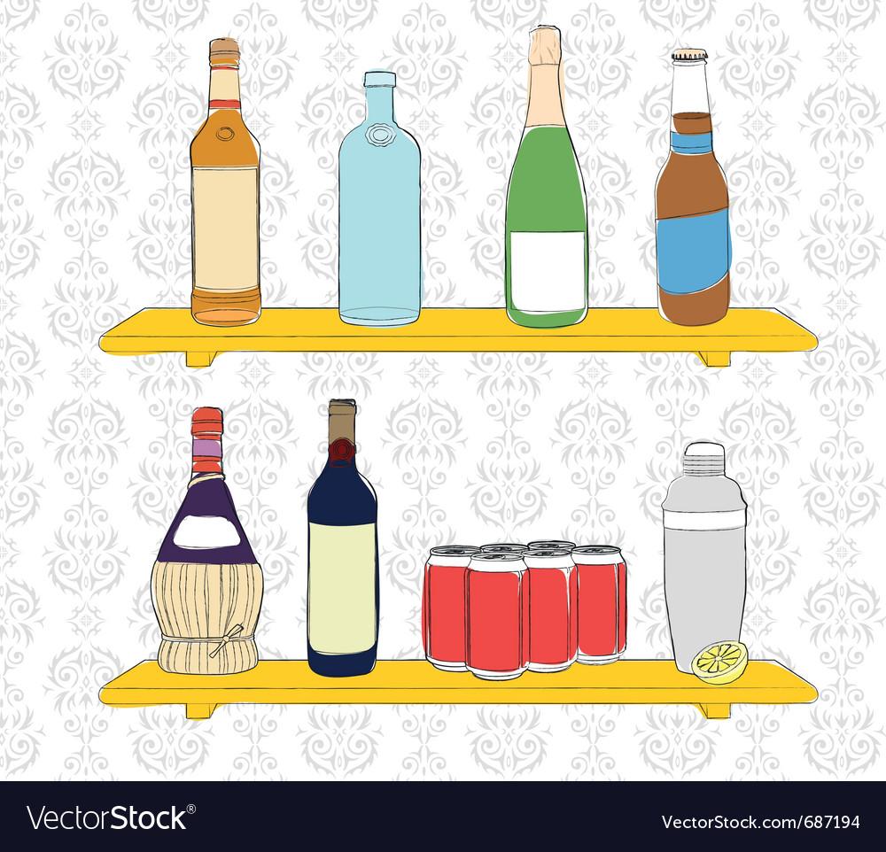 Bottles on a shelf vector | Price: 1 Credit (USD $1)