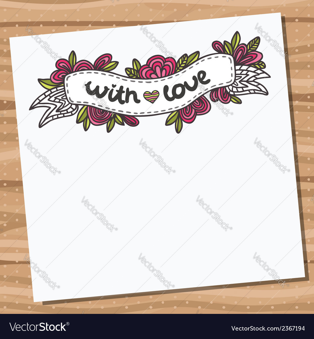 Card with doodle floral ribbon on wooden desk vector | Price: 1 Credit (USD $1)