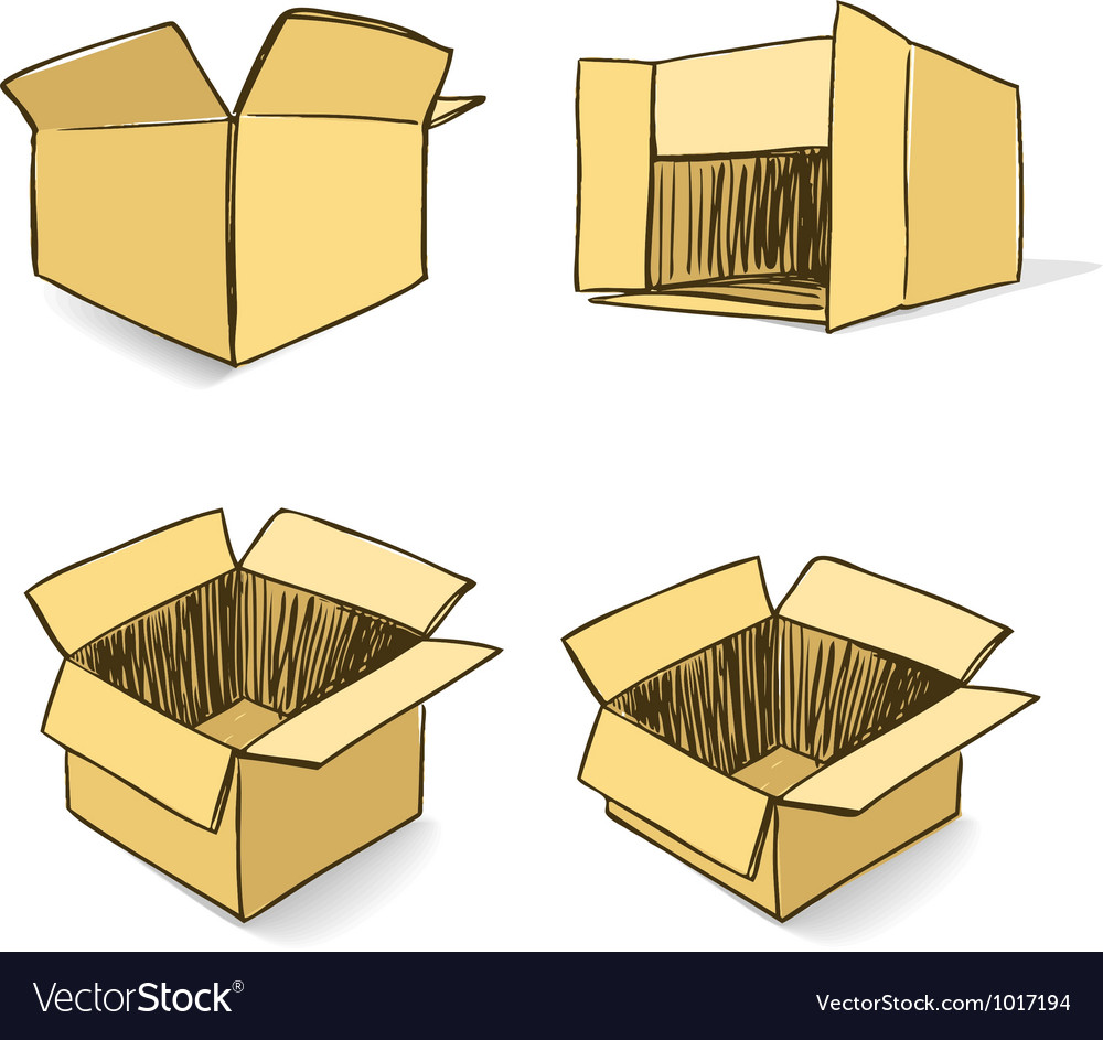 Cardboard hand-drawn set vector | Price: 1 Credit (USD $1)